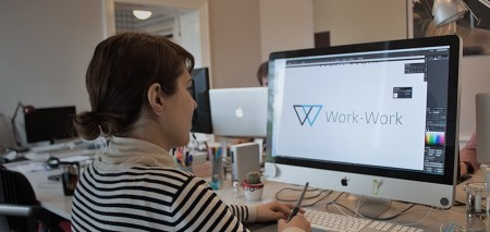Sanja at Klapp Media does some final adjustments to the Work-Work logo.