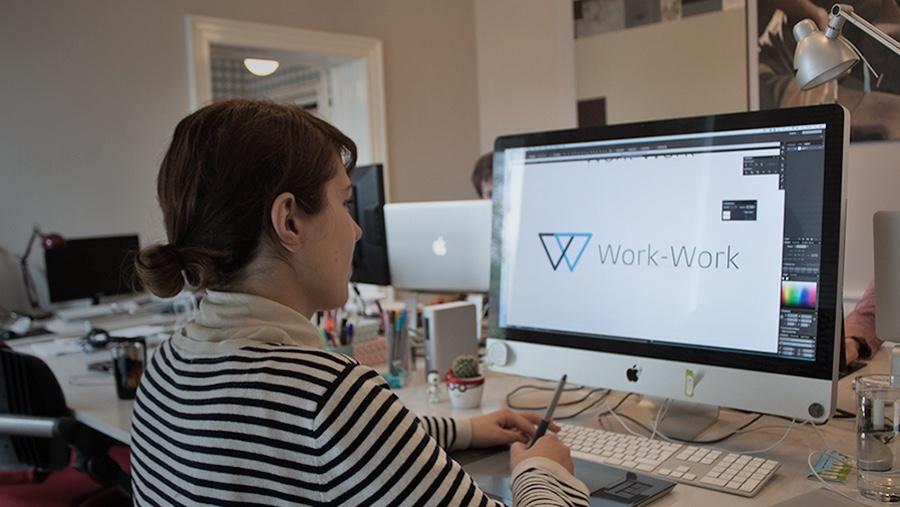 Sanja at Klapp Media does some final adjustments to the Work-Work logo.